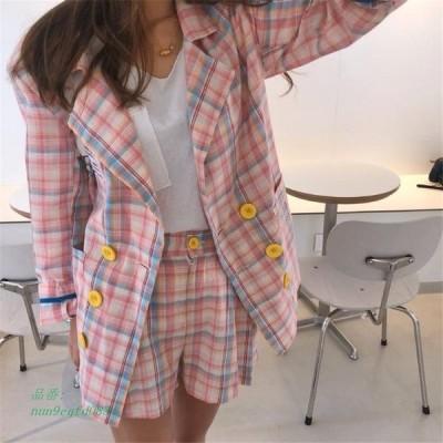 CBAFU 女性ブレザーセットカジュアルなチェック柄 スーツ スーツ 上着ダブルブレストジャケットハイウエストショートパンツスーツ 2 個セットオフィス P274