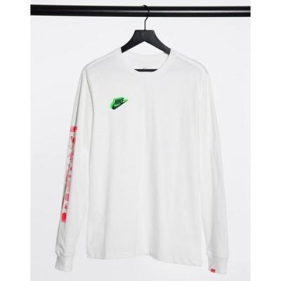 ナイキ メンズ シャツ トップス Nike Worldwide long sleeve t-shirt with sleeve print in white