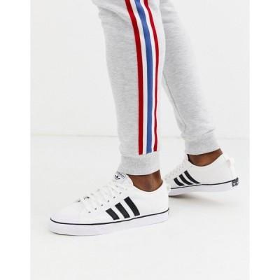 アディダスオリジナルス メンズ スニーカー シューズ adidas Originals Nizza sneakers in white Black