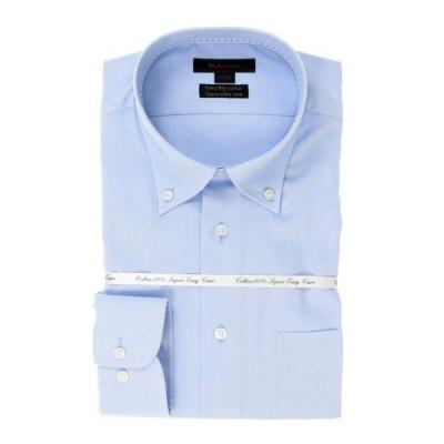 シャツ ブラウス エムエフエディトリアルメンズ/m.f.editorial:MEN 綿100% 形態安定ブルー無地 レギュラーフィット ボタンダウンビ