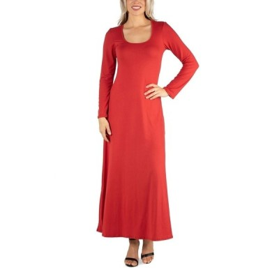 24セブンコンフォート ワンピース トップス レディース Women's Long Sleeve T-Shirt Maxi Dress Rust