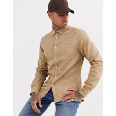 エイソス メンズ シャツ トップス ASOS DESIGN stretch slim denim shirt in sand Beige