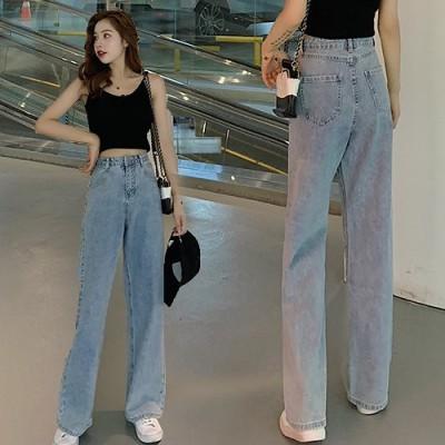 [55555SHOP]ワイドレッグジーンズ 女 薄手 ゆったり 韓国風バージョン ストレート 香港スタイル レトロ 秋 ハイウエストジーンズ
