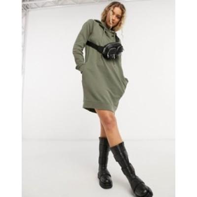 オールセインツ レディース ワンピース トップス AllSaints Kaye hooded sweatshirt dress in green Green