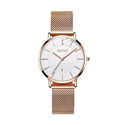 RORIOS ファッション レディース アナログ クォーツ 腕時計 カレンダー ステンレススチール メッシュストラップ レディース腕時計 ローズゴール