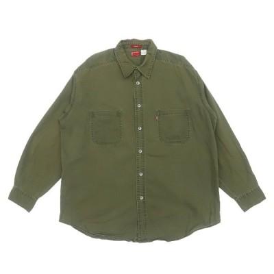 リーバイス ボタンダウン コットン シャツ オリーブ お買い得◎ サイズ表記:XL
