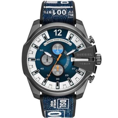 ディーゼル 腕時計 アクセサリー メンズ Men's Mega Chief Chronograph Gray Silicone Strap Watch 51mm Blue
