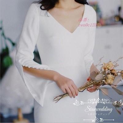 大きいサイズ ロングドレス 結婚式 白 マーメイド 花嫁 ウェディグドレス パーティードレス 二次会 マーメイドラインドレス 挙式 ウエディング