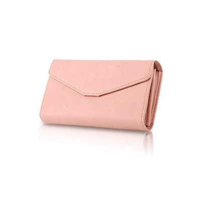 [zaltkaten] 財布 レディース 手帳型 パスポートケース メンズ 大きめ 長財布 メモ帳 大容量 カードケース 収納 多機能 wallet (ピンク)