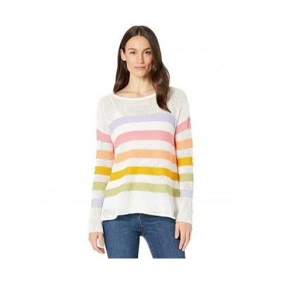 Elliott Lauren レディース 女性用 ファッション セーター Embraceable Hue Mesh Stripe Crew Neck Sweater - Multi