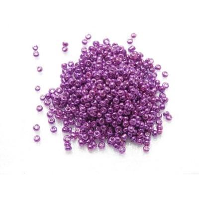ガラスビーズ メタリック ノーマル(S) 2x2mm  レッドパープル 赤紫 約300個