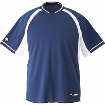 DESCENTE 野球 ソフトボール ジュニア 野球 2ボタンベースボールシャツ 19FW NVSW Tシャツ(jdb103b-nvsw)