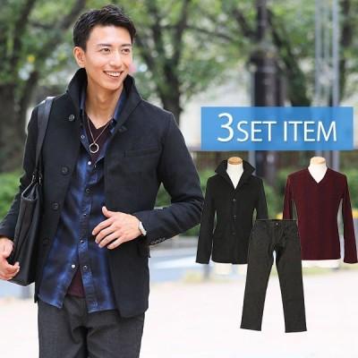 ジャケットセット 黒ジャケット×杢ワインTシャツ×黒パンツの3点コーデセット 71