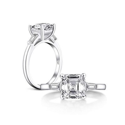 AINUOSHI Rhodium Plated 925 Sterling Silver Cubic Zirconia 3 Carats Asscher