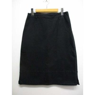 【中古】ディープブルー DEEP BLUE ストレッチ コットン 台形 スカート M 黒 ブラック ひざ丈 サイドスリット 日本製