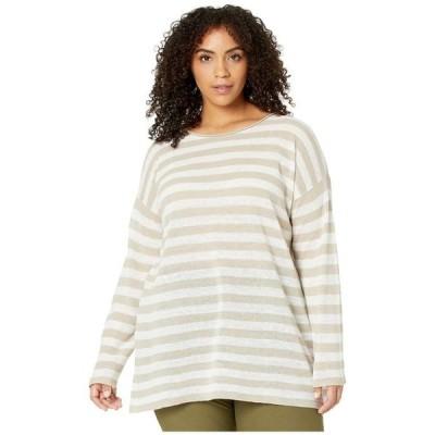 エイリーンフィッシャー レディース シャツ トップス Plus Size Organic Linen Cotton Crew Neck Tunic