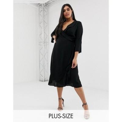 アウトレイジャス フォーチュン プラス レディース ワンピース トップス Outrageous Fortune Plus ruffle wrap dress with fluted sleeve in black Black