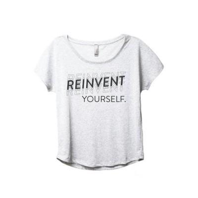レディース 衣類 トップス Reinvent Yourself Women's Fashion Slouchy Dolman T-Shirt Tee Heather White Small Tシャツ