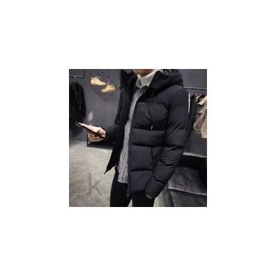 ジャケットメンズアウターキルティングコート無地フード付きカジュアルシンプル暖かいジップアップ通勤通学