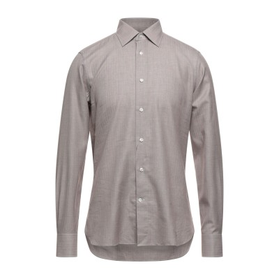 エルメネジルド ゼニア ERMENEGILDO ZEGNA シャツ ブラウン 39 コットン 85% / カシミヤ 15% シャツ