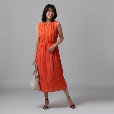 アンタイトル UNTITLED [L]【洗える】スラブワッシャーマキシワンピース (オレンジ)