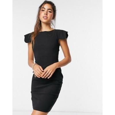 ベスパー レディース ワンピース トップス Vesper Poppy scalloped sleeve mini dress in black Black