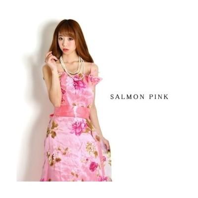 花柄オーガンジーリボンコサージュプリンセス ロングドレス