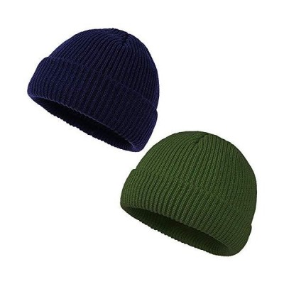 Amoin Men's Knit Beanie Hat for Winter and Autumn-2 Pack (Navy/Dark Green)【並行輸入品】