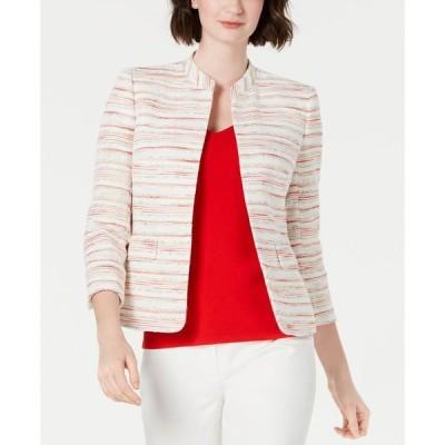 アンクライン レディース ジャケット・ブルゾン アウター Striped Mandarin-Collar Blazer