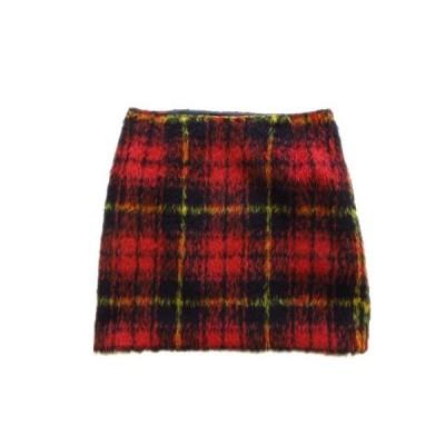 【中古】アウラアイラ AULA AILA チェック ミニ スカート タイト 起毛 0 赤 レディース♪2  【ベクトル 古着】