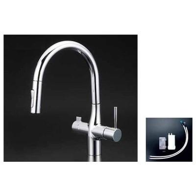 KVK KM6081SCEC※ 浄水器付シングルレバー式シャワー付混合栓 ビルトイン浄水器付 eレバー 混合水栓