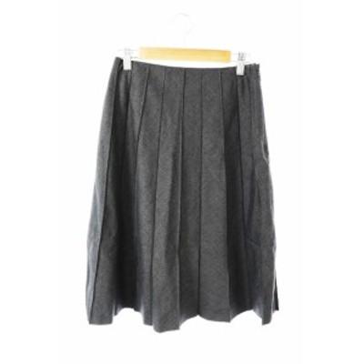 【中古】ノーリーズ Nolley's スカート プリーツ ひざ丈 ニット ウール 36 黒 ブラック /TH2 レディース