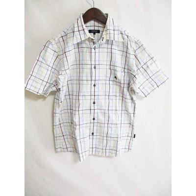 【中古】バーバリーブラックレーベル BURBERRY BLACK LABEL チェック シャツ 半袖 柄物 ロゴ 白 青 2 メンズ 【ベクトル 古着】