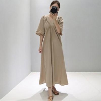 ロングワンピース マキシ丈 ロング丈 体型カバー Vネック 五分袖 ゆったり 大人可愛い ガーリー カジュアル 韓国ファッション トレンド