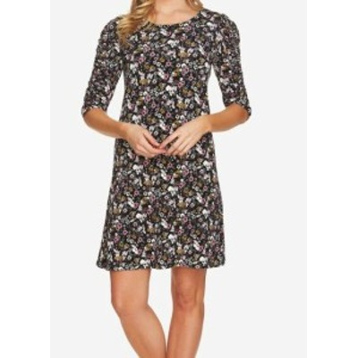 CeCe  ファッション ドレス CeCe NEW Black Womens Size XL Floral Ruched Sleeve Shift Dress