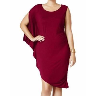 Red  ファッション ドレス Whitespace NEW Red Womens Size 3X Plus Ruffle Asymmetric Sheath Dress