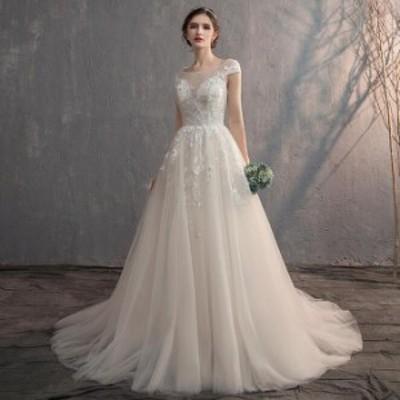 ウェディングドレス ウエディングドレス 床付きタイプ・トレーンタイプ 2タイプ フレンチ袖 Aライン 編み上げタイプ 前撮り 後撮り 披露