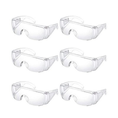 Sweet+ 保護 ゴーグル メガネ 作業用 透明 防護 防塵 眼鏡の上からでもかけられる 曇り止め 花粉 飛沫 防止 (保護メガネ 6個)