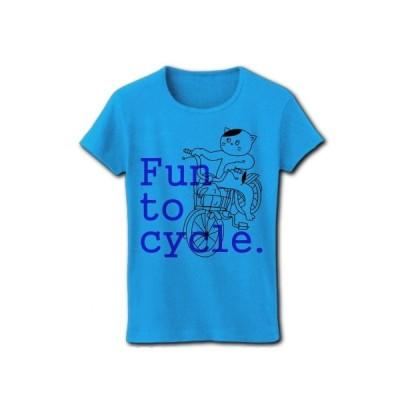 自転車を楽しむ猫(ピンク) リブクルーネックTシャツ(ターコイズ)