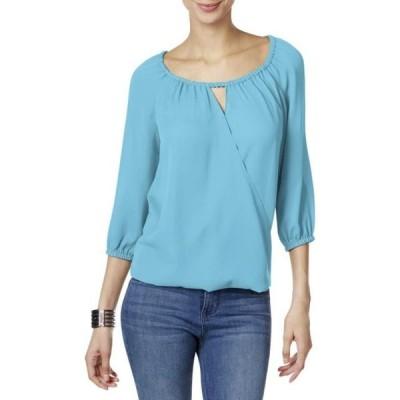 ユニセックス 衣類 トップス INC International Concepts Surplice Keyhole Blouse Blue Small ブラウス&シャツ