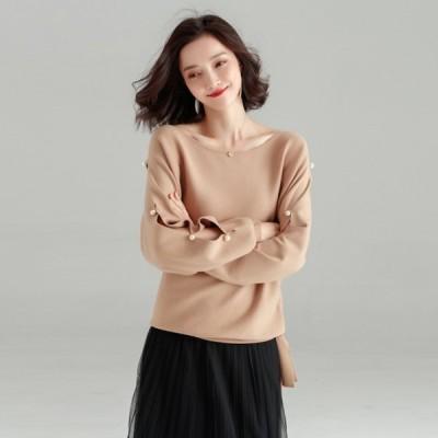 新作商品 ニット 着痩せ セーター 厚手 2色 フリーサイズ  秋服  冬服  着回し ゆったり