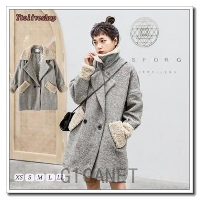 コートレディースアウターピーコート大きめフェイクファー防寒あったかPコートロングコート