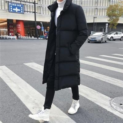 防寒着中綿ジャケットメンズロング丈スリムダウン風ジャケット秋冬新作フード付きファッションアウターおしゃれ