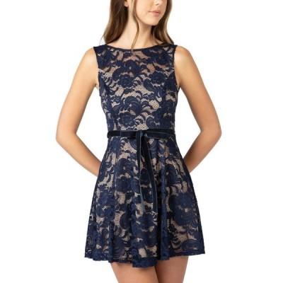 ビーダーリン レディース ワンピース トップス Juniors' High-Neck Lace A-Line Dress