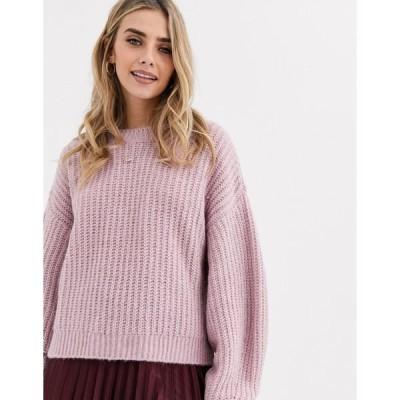 ニュールック レディース ニット&セーター アウター New Look recycled yarn balloon sleeve sweater in lilac Lilac