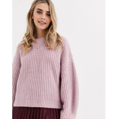 ニュールック レディース ニット&セーター アウター New Look recycled yarn balloon sleeve sweater in lilac Lilac