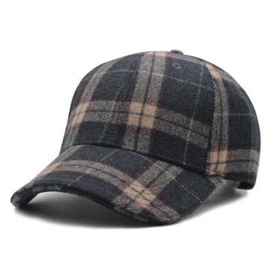 フェルト 冬 チェック柄 ベース ボール キャップ 野球帽 帽子 スポーツ カジュアル ソリッド ハット 男性 女性 スナップバック アウトドア ヒ