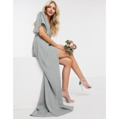 エイソス レディース ワンピース トップス ASOS DESIGN Bridesmaid short sleeved cowl front maxi dress with button back detail in ol