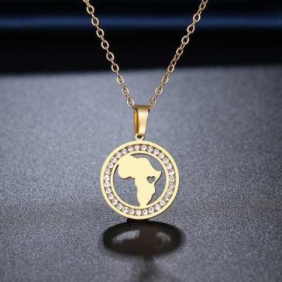 Cacana 316L ステンレス 鋼 アフリカ地図 ネックレス クリスタル のラインストーン ネックレス レディース 結婚 バレンタイン