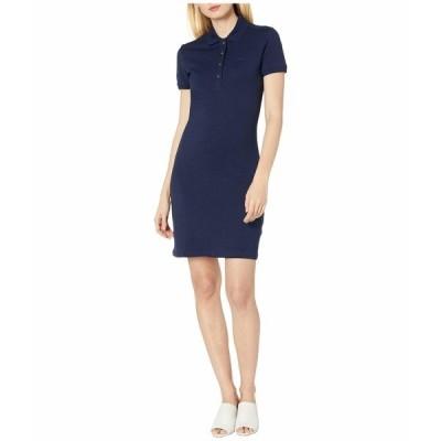 ラコステ ワンピース トップス レディース Short Sleeve Slim Fit Stretch Pique Polo Dress Navy Blue
